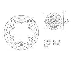 Disque de frein arrière Brembo Serie Oro Fixe Rond 220mm KTM 300 EXC 6 Days