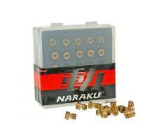 Boite de 11 gicleurs principaux Naraku 100-120 M5 pour carburateur Origine GY6