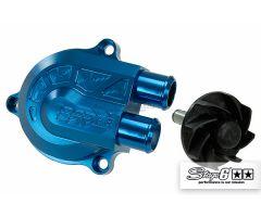 Couvercle de pompe à eau Stage6 Racing + volute haute pression Bleu anodisé. Minarelli Horizontal LC