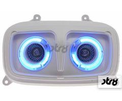 Double optique STR8 Style BM Blanc / Néon Bleu MBK Booster 2004